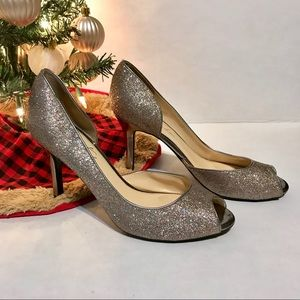 4 For $25💸 March Fisher glitter open toe heels